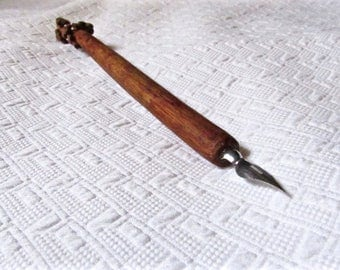 Floral Hand Carved Dip Pen