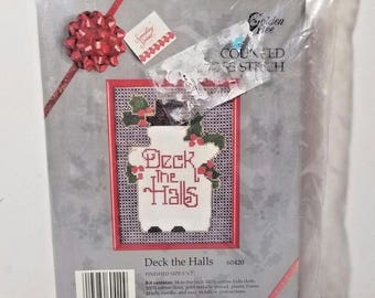 Vintage New Sealed Golden Bee Christmas Counted Cross Stitch Kit 5 x 7 Deck the Halls