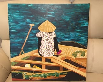 Painting titled: Fishing in Ha Long Bay