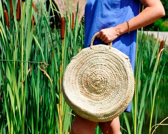 Round Handmade basket Straw bag - Round straw bag, Round basket, Summer carrycot, palm tree leaves bag, boho bag, French market basket