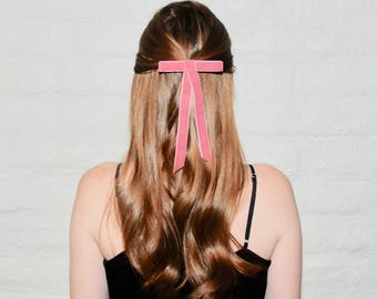 Velvet hair bow, velvet bow, hair bow, pink velvet bow, velvet hair clip, pink hair bow, valentine's bow, hair accessories, gift for her