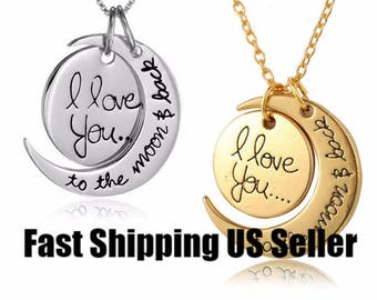 High quality silver or gold I love you to the moon and back necklace