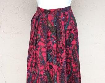 Sale- Vintage 80s Koret Skirt/ Union Made/ USA/ Red Plaid Skirt/ Vintage 80s Skirt/ Vintage Plaid/ High Waisted Skirt/ Paisley Skirt