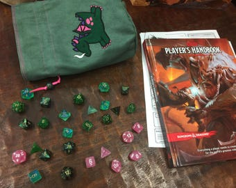 Cute Dragon Green Dice Bag