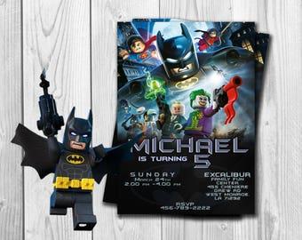 Batman Lego Invitation, Batman Lego Birthday, Batman Party, Batman Lego, Batman  Invites, Personalised Batman Lego, Free Thank you Cards