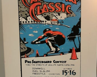 Old School Vintage Skateboard Art Hand-Painted 'Catalina Classic' Poster Jim Phillips Reproduction 600X500 mm