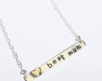 Personalized Bar Necklace, Sterling Silver Heart Necklace, Handstamped Message, Personalized Bar, Silver Best Mum Bar Necklace, Gift for mum