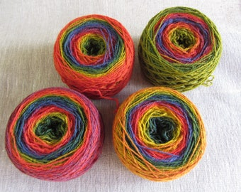 380 gr artistic kauni 8/2 yarn, rainbow, pure wool for hand and machine knitting