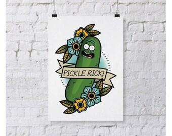 Pickle Rick Tattoo 5x7 Print