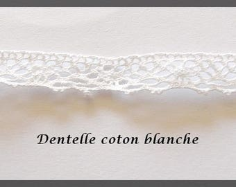 Ribbon Lace braid, in crocheted cotton, color white, size 0.20 inch