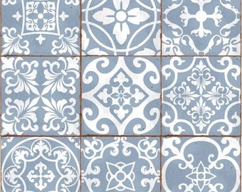Traditional tile transfers stickers wall Vintage Victorian Moroccan retro mosaic 6x6