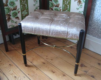 Mid-Century Deco Style Stool with Ebonised Dansette Legs, Newly Re-Upholstered in Crocodile Velvet Fabric