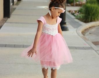 Flower Girl Dress, Tulle Dress, Pink Dress, Toddler Dress, Ivory & Pink Crochet Lace Dress, Rustic Flower Girl Dress, Birthday Party Dress