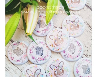 Pocket mirrors. Small mirror. Makeup accessory. Compact mirror. Wildlife gift. Handbag mirror. Squirrel. Rabbit.