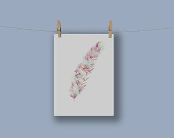 Feather Print in Pink A4