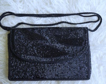 Black Vintage Sequins Handbag