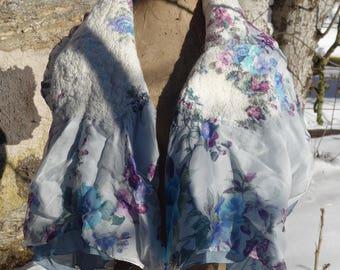 Thin felted silk shawl
