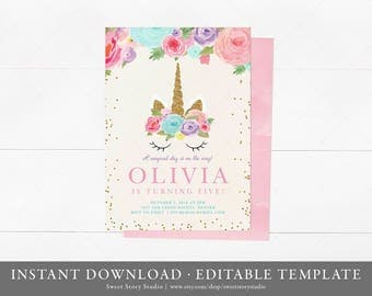 Instant Download | Glitter Unicorn Birthday Invitation Card  | Editable | Watercolor Magical Pink Blush Gold
