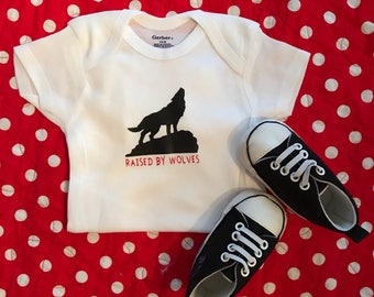 Raised by Wolves Wolfpack bodysuit, Baby Onesie, NC State Baby, NC Baby, Newborn Outfit, Coming Home Outfit, Baby Shower Gift