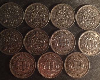 11 .500 silver British threepence coins date run from 1931 to 1941 King George V & king George VI
