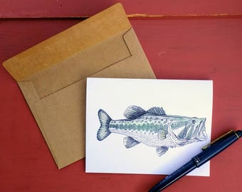 Large Mouth Bass American Woodland Greeting Card/Note Card