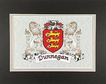 "Dunnegan Irish Coat of Arms Print - Frameable 9"" x 12"""