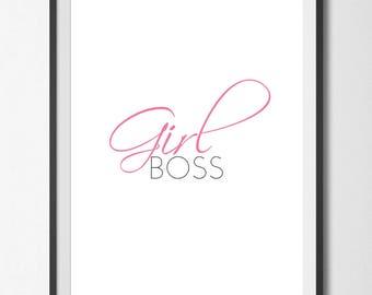Girl Boss // Boss Lady // Office Decor // Feminist // Printable Art // Wall Art // Art Print  // Wall Decor // Instant Download