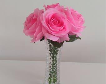 Artificial Floral Arrangement - Faux Silk Flowers in Glass Vase - Artificial Flowers Centrepiece