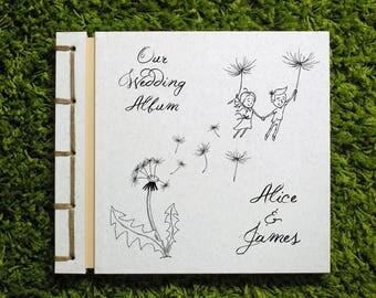 Personalized Wedding Photo Album, Handmade Anniversary Scrapbook, Love Couple, Cartoon Drawing, Flying Dandelion