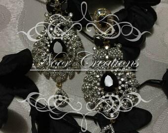 Swarovski Crystals with Black Gemstone!