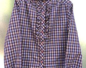 Vintage 80s multi-plaid ruffle front shirt.