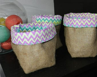 Basket in natural burlap colored