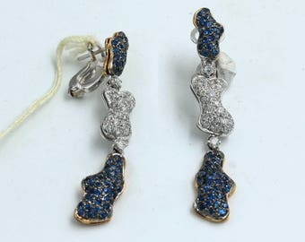18kt gold earrings, with natural sapphires and diamonds, handcrafted