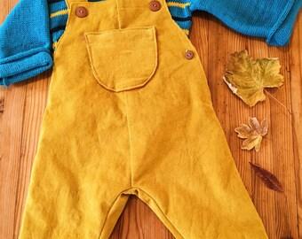 Salopette en velours stretch moutarde doublée en jersey brique