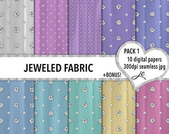 Jeweled Fabric Digital Papers + BONUS Photoshop Pattern File, Seamless, Textures, Scrapbooking, Backgrounds, Personal & Commercial Use