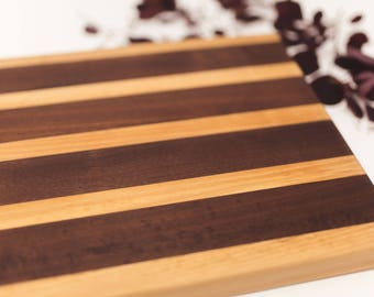Custom Handmade Cutting Board Wooden | Black Walnut & Curly Maple Cutting Board, Wedding Present, Engagement Gift, Kitchen Cutting Board
