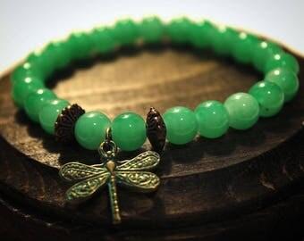 Dragonfly Bracelet, Glass Bead Bracelet, Meaningful Bracelet, Inspirational Bracelet, Dragonfly Jewelry, Gift for girlfriend