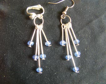 Blue Swarovski Crystal Pearl Earrings