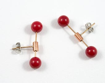 Red earrings, Minimalist earrings, Bronze earrings, Red jewelry, Coral jewelry, Minimalist jewelry, Brass earrings, Bronze jewelry, For her