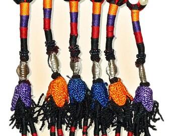 vintage uzbek nomad's hand woven woolen silk yurt dwelling large decoration band pendants with tassels from uzbekistan 1041