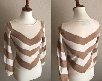 Vintage 1970s 100% merino wool chevron sweater // c. wonder // quarter length sleeves // size xs-s // wool sweater // small