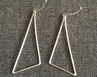 Sterling Silver Minimalistic Triangle Drop Earrings