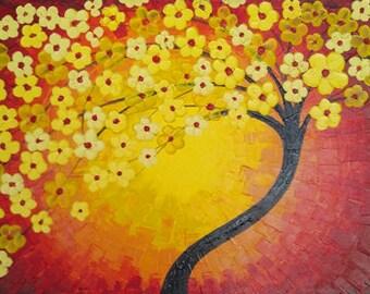 Abstract Yellow Blossom Tree Acrylic on Canvas