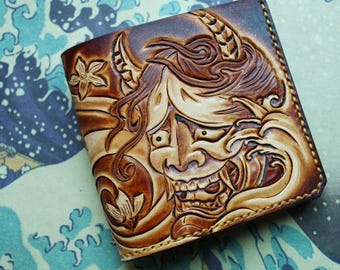 Handmade tooled leather prajna ghost  wallet short wallet
