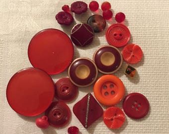 Vintage Buttons - Assorted Red Buttons Set of 24