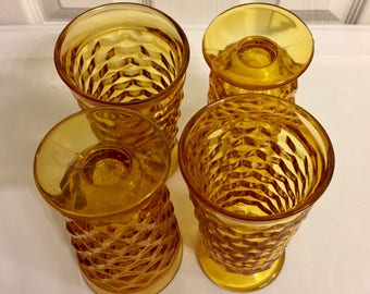 Vintage 1960's Amber Indiana Cubic Glassware