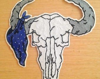 Ram Skull Bandana Chainstitch Iron On Felt Patch