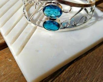 Blue Topaz Bangle Cuff Bracelet