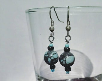 Blue and Gray Stone Earrings #018