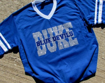 DUKE Blue Devil Short or Long Sleeve T-Shirt Jersey in Blue with White Contrasting V-Neck and Sleeve Stripes in Brilliant Sparkling Glitter